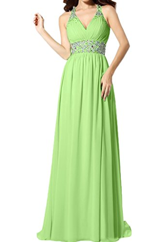 Stilvoll Linie Promkleid Ausschnitt Lang A Damen Grün V Festkleid Abendkleid Chiffon Ivydressing FzAwpq5S