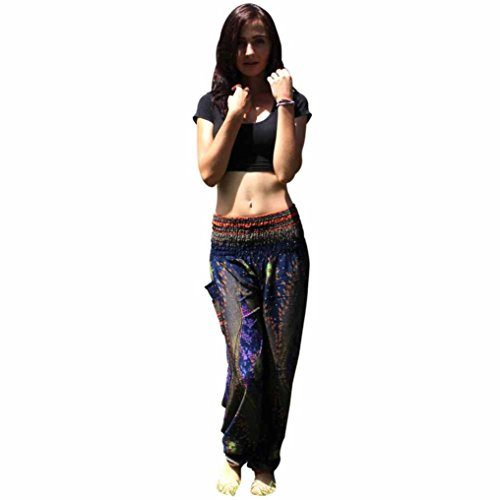 Sunfei Men Women Thai Harem Trousers Boho Festival Hippy Smock High Waist Yoga Pants (Eye_Dark Blue) ()