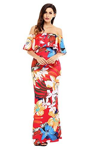 Damen Rot Bunt Rüschen Off Schulter Maxi Kleid Club Wear Party Wear ...