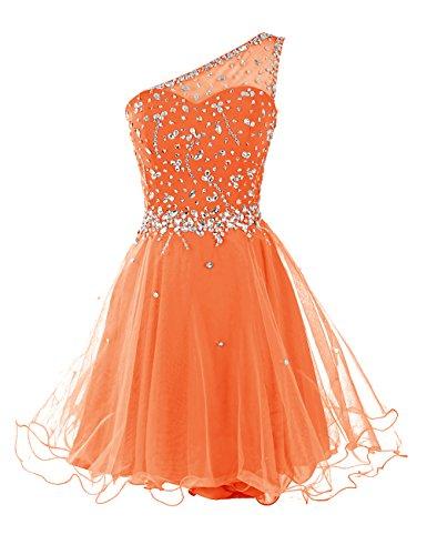 Orange de cocktail courte avec en Dresstells robe paillettes bal paule robe de tulle 0wavv7A8q
