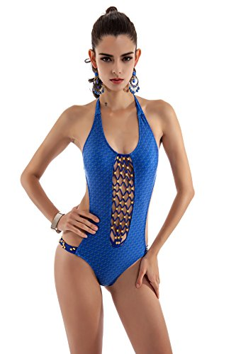 SZH YIBI Ms. bikini medio ambiente alta elasticidad moda traje de baño siamés traje de baño Blue