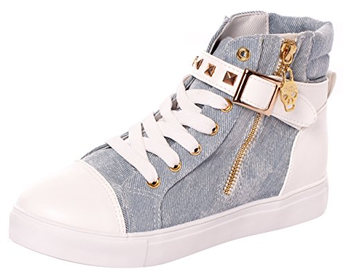 High Top Sneakers for Women and Girls with Lace-up in Canvas and Leather(7 B(M) US,Blue) (7 B(M) US, Blue) by Serene