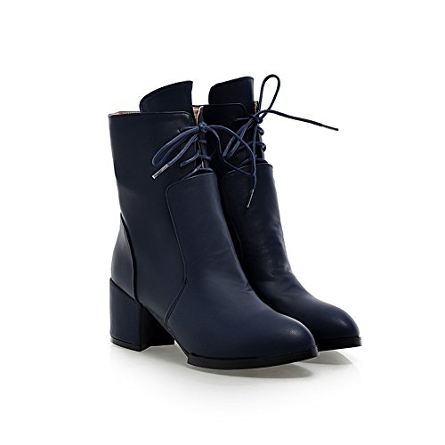 BalaMasa Imitated Blue Leather Girls Boots Chunky Bandage Mule Heels qqFXr