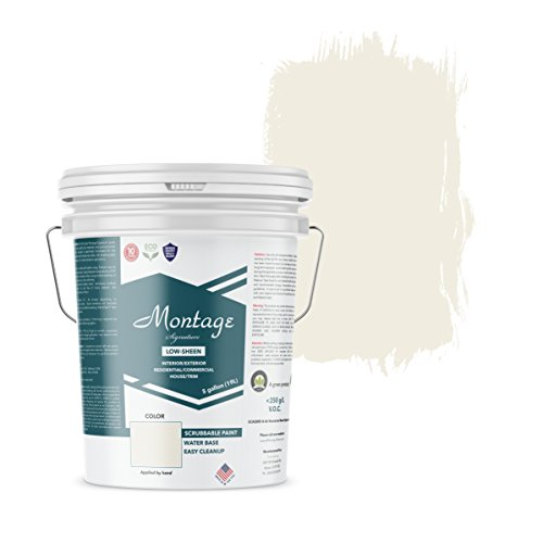 Montage Signature Interior/Exterior Eco-Friendly Paint, Snow White - Low Sheen, 5 Gallon (Best Paint Primer For Interior Walls)