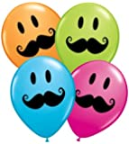Smiley Face Moustache Party Balloons, Bag of 25