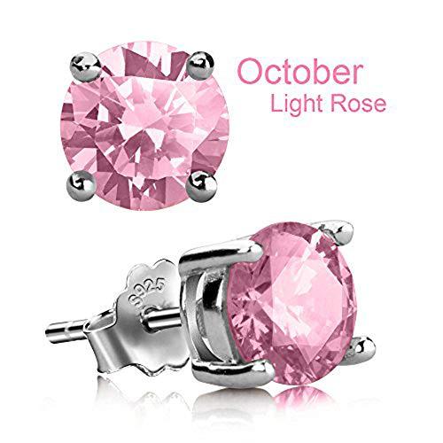 (Stud Earrings, UHIBROS Hypoallergenic Silver Ear Stubs Birthstone Round Cubic Zirconia Diamond Earrings (October-Light Rose) )