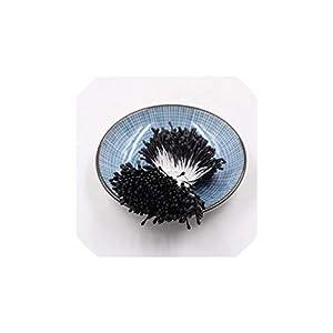 YP-fashion 400Pcs/lot 7cm Matte Double Heads Mini Stamen Pistil Artificial Flowers Wedding Decoration Cards Cakes Fake Flowers Accessories,Black 75