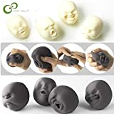 Gags & Practical Jokes - Human Face Emotion Vent Ball Toy Resin Relax Doll Stress Relieve Novelty Toy Anti-stress Ball Toy Gift GYH (Black)
