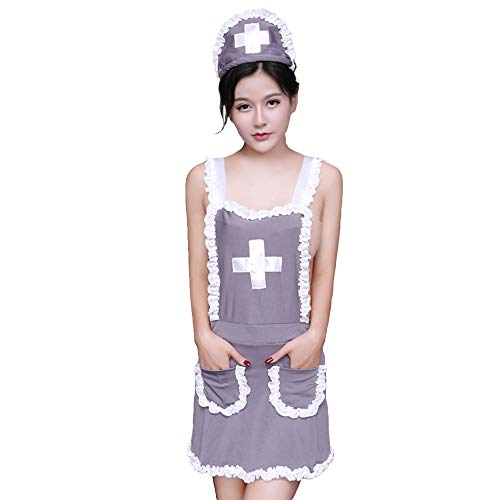 (YOMORIO Womens Sexy Nurse Costume Lingerie Naughty Maid Apron Uniform Role Play Outfit for Adult)