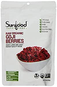 Sunfood Goji Berries, Certified Organic, Non-GMO, 8oz