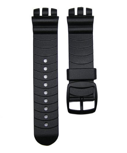 21mm Black Resin Replacement Watch Band for Swatch Irony Nabab & Irony Scuba 200 Watch