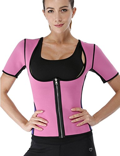 NonEcho Women Sauna Body Shaper Sweat Suit Sleeve Spa Cami Hot Neoprene Slimming Workout Vest Weight Loss Top Pink For Sale