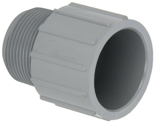"""GF Piping Systems CPVC Pipe Fitting, Adapter, Schedule 80, Gray, 1-1/4"""" NPT Male x Slip Socket"""