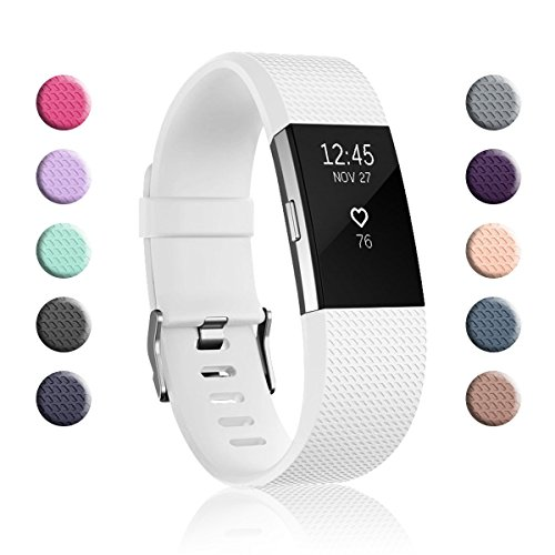 Fundro Replacement Bands Compatible with Fitbit Charge 2, Classic & Special Edition Adjustable Sport Wristbands (1-Pack White, Small (5.5-6.7))