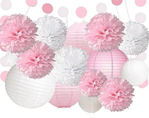 Fonder Mols 18 White Pink Tissue Paper Flowers Pom Poms Paper Lanterns Polka Dot Garlands for Wedding Baby Party Decorations ()