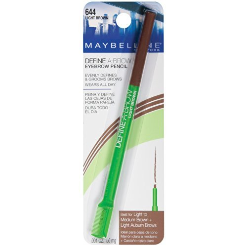 Maybelline Define-A-Brow Eyebrow Pencil, Light Brown [644] 0.001 oz (Pack of 6) by Maybelline New York