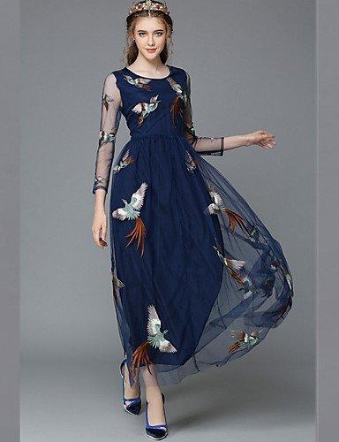 GSP-Damen Kleid - Übergrößen Übergröße / Sexy / Retro / Party / Arbeit / Leger Solide Maxi Polyester / Elasthan / Gitter Rundhalsausschnitt