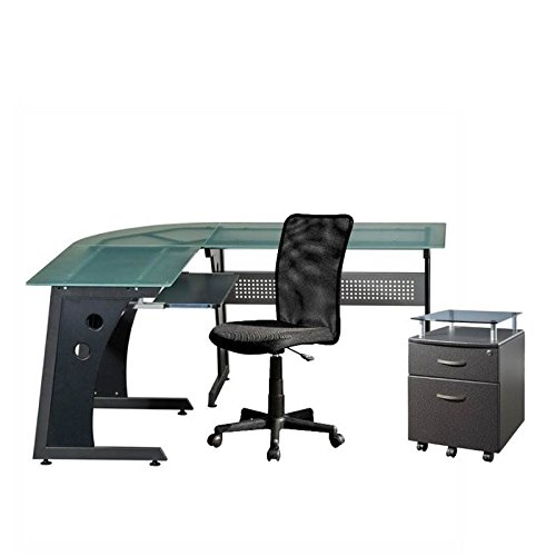 3 Piece Office Cabinet - 3 Piece Office Set with Mesh Office Chair, Mobile Filing Cabinet, and Glass Computer Desk