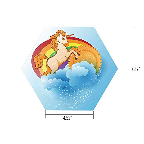 PTANGKK Hexagon Wall Sticker,Mural Decal,Unicorn Home and Kids Decor,Unicorn with a Single Horn Forehead on Sun Fluffy Clouds Art Print,Multi,for Home Decor 4.52x7.87 10 -