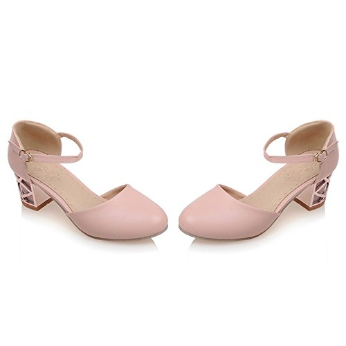 Sandals Women Pink Block Dating Comfort TAOFFEN Heel Buckle q1B7X66w