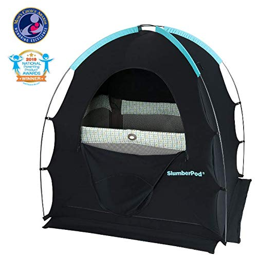 SlumberPod Privacy Pod for Traveling with Babies and Toddlers: Easy to Set Up Blackout Dark and Private Sleeping Space - Canopy Compatible with Graco Pack 'n Play, Lotus Travel Crib, Baby Bjorn from SlumberPod