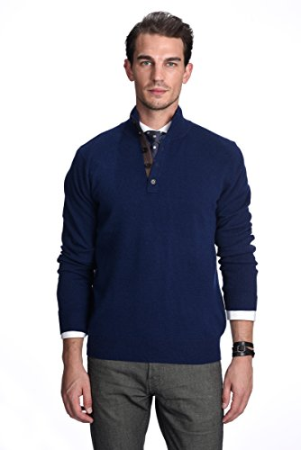 (State Cashmere Men's 100% Pure Cashmere Button Mock-Neck Polo Collar Sweater Pullover (X-Large, Navy))