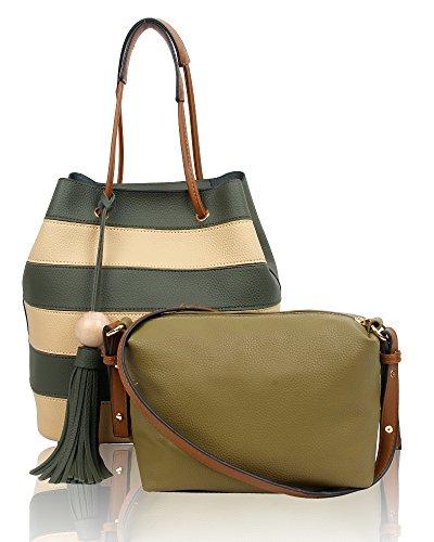 SwankySwans - Lola Stripe 2 In 1 Tote Bag, Borse Tote Donna Verde (Olive)