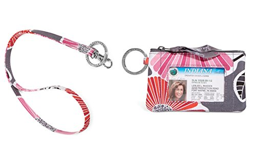 Vera Bradley Zip Id Case and Lanyard in Cheery Blossoms