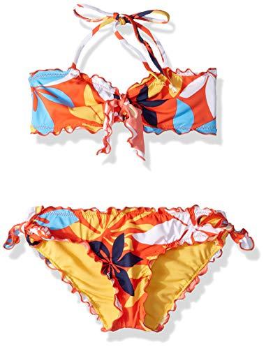 (Hobie Big Girls' Halter Bandeau Bikini Top and Side Tie Hipster Bottom Set, red//Bloomy Daze, 10)