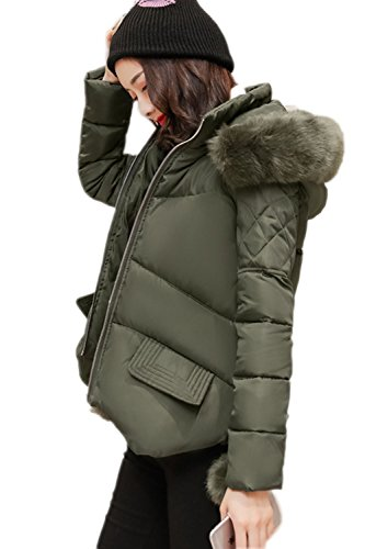 Imitacion Con Casual Mujer Outwear Del La Verde Acolchada Calientes Parkas Peludas Invierno Corto Capucha EFXw5qB