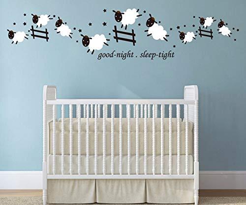 Dalxsh Count Jumping Sheep Good Night Sleep Tight Vinyl Wall Sticker Decal Kids Room Baby Nursery Stickers 10X47Cm ()