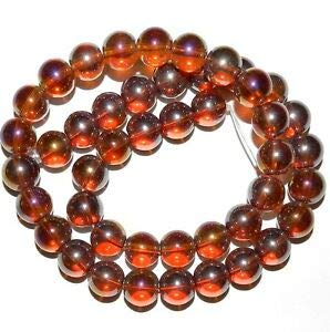Steven_store G2846 Golden Topaz Brown AB 10mm Round Glass Beads 16