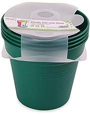 وعاء زرع بلاستيك بالطبق من مينترا، 19سم، عبوة 4، أخضر