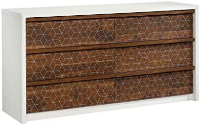 Sauder 424151 Harvey Park Dresser, Soft White Finish with Grand Walnut Accents
