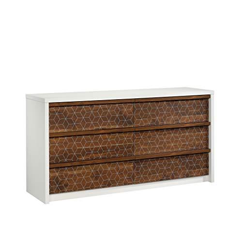 Sauder 424151 Harvey Park Dresser, Soft White Finish with Grand Walnut Accents ()