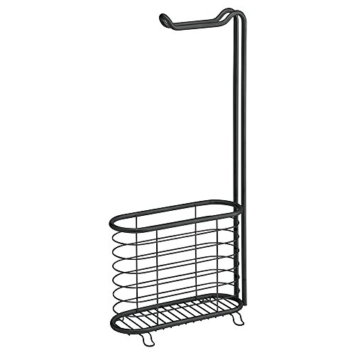 Rack Newspaper Magazine (InterDesign Forma Free Standing Toilet Paper Holder and Newspaper and Magazine Rack for Bathroom 	- Matte Black)