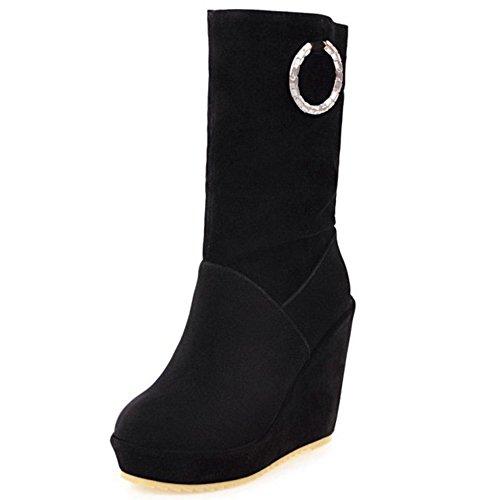 Zeppa TAOFFEN On Donna Tacco Alto Pull Stivali Scarpe Black Modello Pfrfq1