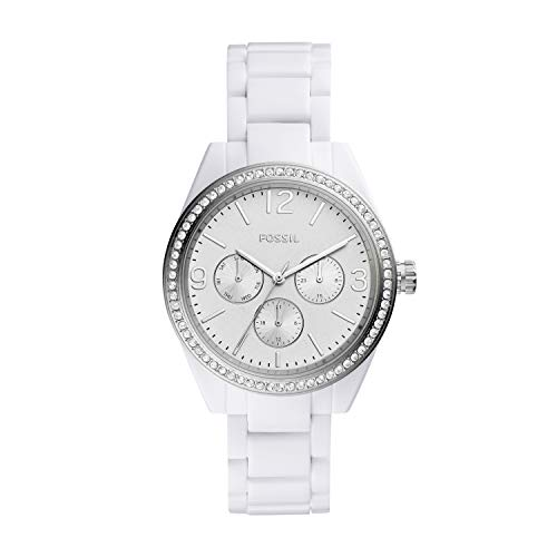 (Fossil Women's Caleigh Quartz Watch with Resin Strap, White, 18 (Model:)
