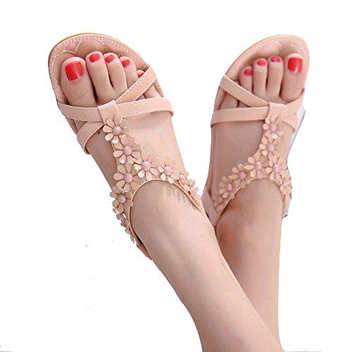 mujer Material Sintético Sandalias para vestir de Rosa de TEERFU n670ZqUgO6
