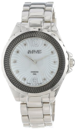 August Steiner Women's AS8064SS Genuine Diamond Mother-Of-Pearl Bracelet Watch