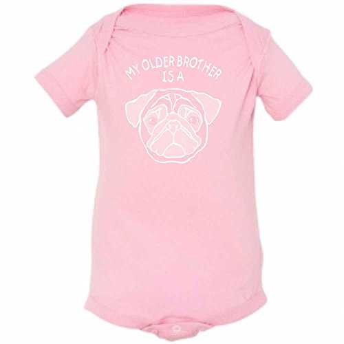 ' My Older Brother Is A Pug, My Older Sister Is A Pug ' Cute Funny Infant Baby Creeper (6 Months, Pink (Baby Pug)