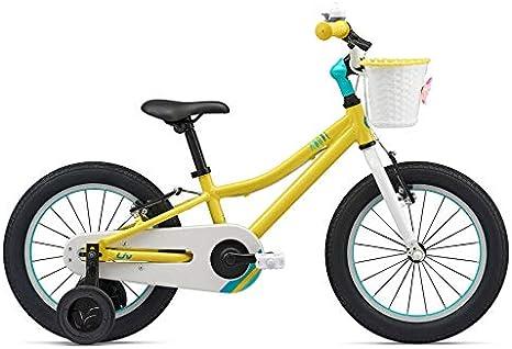 Giant - Bicicleta de niña de 16 pulgadas Adore F/W 16 de aluminio con ruedas y cesta amarilla: Amazon.es: Deportes y aire libre
