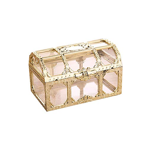 Alamana Vintage Durable Transparent Storage Box Candy Trinket Jewelry Holder Organizer Container Decorative Jewelry Boxes Golden