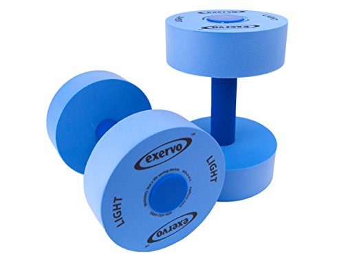 UPC 837654682951, Exervo Water Exercise and Aerobics Foam Pool Dumbbells Weights - Light Resistance Pair - 14 Page Instructional Handbook Included