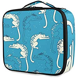 ATONO Sleeping Cats Blue Animal Texture Portable Makeup Bags Professional Cosmetic Toiletry Travel Box Organizer Compartments Case Multifunction Storage Waterproof Adjustable Dividers for Girls&Women