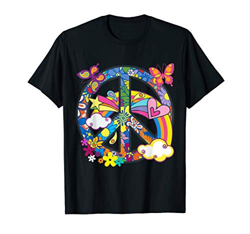 Groovy Hippie Peace Sign Colorful 70's Flowers & Butterflies ()
