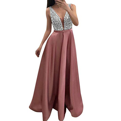(Sunhusing Ladies Stylish Shiny Sequins Stitching Prom Dress Deep V-Neck Sleeveless Bohemian Long Maxi Dress Pink)