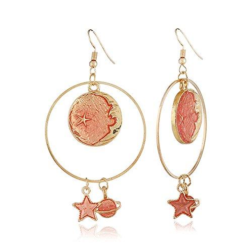 CHOA Asymmetrical Star Moon Long Earrings Planet Earrings for Girls (D:Orange Earrings)
