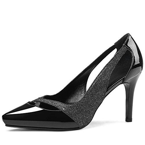 Nine Seven Cuero Moda Puntiagudos Tacones de Aguja con Lentejuelas de Vestir para Mujer negro