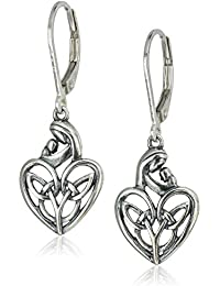 Sterling Silver Oxidized Celtic Mother and Child Knot Heart Leverback Dangle Earrings